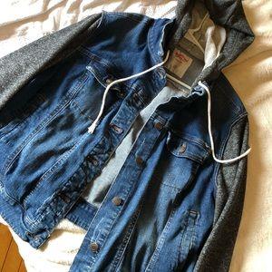 Women's Layered Drawstring Hood Denim Jacket
